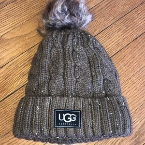 Brown tweed cable stitch hat with Pom Pom